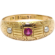 15k Yellow Gold Round Cut Ruby Seed Cultured Pearl Band Ring With English Hallmark
