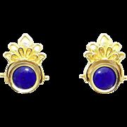 Unique 14k Yellow Gold Cameo Blue Enamel Button Stud Flower Flip Reversible Earrings