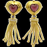 Solid 18k Yellow Gold 10ct Cabochon Garnet Diamond Heart Drop Dangle Chandelier Earrings