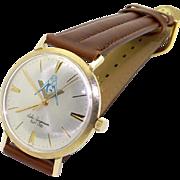 Men's Jules Jurgensen 14k Yellow Gold Masonic Mechanical Wind Watch 17 Jewels