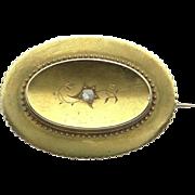 Victorian 14k Yellow Gold Rose Cut Diamond Mourning Locket Brooch Pin