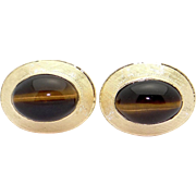 Men's 18k Yellow Gold Tiger Eye Cuff links Cufflinks