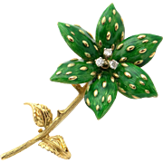 Gorgeous 18k Yellow Gold Green Enamel Flower Diamond French Brooch Pin