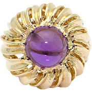 Unique 14k Yellow Gold 2ct Purple Cabochon Amethyst Dome Band Ring