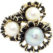 14k Yellow Gold White Grey Cultured Pearl Flower Leaf Cluster Cocktail Ring