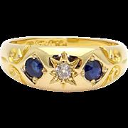 18k Yellow Gold .25ct Sapphire Diamond Wedding Band Ring