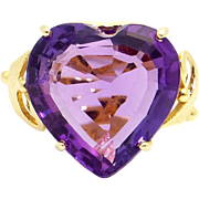 Stunning 18k Yellow Gold 11ct Heart Shape Purple Amethyst Solitaire Ring Cocktail Size 7