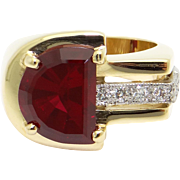 Unique Vintage 14k Yellow Gold 3ct Half Moon Cut Synthetic Ruby & Diamond Ring