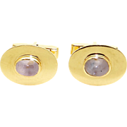 Men's 14k Yellow Gold Cabochon 5ct Gray Star Sapphire Cuff Links