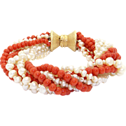 14k Yellow Gold White Freshwater Cultured Pearl Coral Quadruple Strand Twisted Bracelet