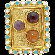 Unique 18k Yellow Gold Cabochon Garnet Agate Amethyst Multi Color Enamel Ring