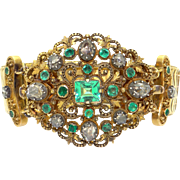 Exceptional Victorian 14k Yellow Gold 5ct Rose Cut Diamond Emerald Cluster Bracelet