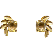 14k Yellow Gold 3ct Oval Cut Citrine Flower Button Stud Earrings
