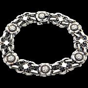 Vintage Georg Jensen Wendel Denmark Sterling Silver Flower Link Bracelet #50
