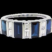 18k White Gold 2ct Emerald Cut Sapphire & Diamond Wedding Band Anniversary Ring Size 7
