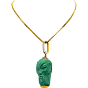 Vintage Unique 18k Yellow Gold Carved Turquoise Head Skull Pendant Necklace 18 inch Box Link .