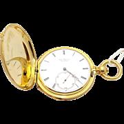 Jules Jurgensen Solid 18k Yellow Gold Hunting Case Key Wind Pocket Watch