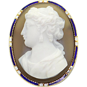 Stunning Victorian 14k Yellow Gold Carved Hard Stone Agate Cameo Enamel Brooch