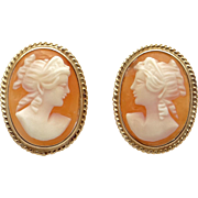 Vintage 14k Yellow Gold Shell Cameo Portrait Button Stud Earrings