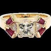 Unique 14k Yellow Gold 1.40ct Princess Cut Diamond Ruby Engagement Promise Ring
