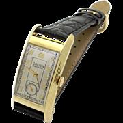 Retro Era Mens Gruen Curvex Precision 14k Yellow Gold Manual Wind 17 Jewel Watch
