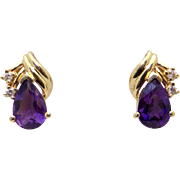 14k Yellow Gold 2.10ct Pear Shaped Amethyst Diamond Button Stud Earrings
