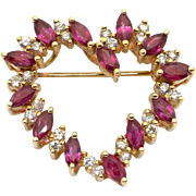 Vintage 14k Yellow Gold 2ct Marquise Round Cut Ruby Diamond Heart Love Brooch Pin Slide