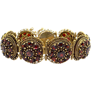 Retro 14k Yellow Gold 21ct Round Garnet Cluster Tennis Link Flower Bracelet 7 inch