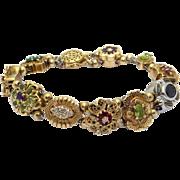 Beautiful Vintage 14k Yellow White Gold Multi Stone Emerald Ruby Diamond Amethyst Slide ...