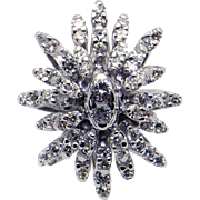 14k White Gold 1.40ct Round Diamond Cluster Star Snowflake Cocktail Ring Size 6