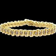 Classic 14k Yellow Gold Round Brilliant Cut 5ct Diamond Tennis S Link Bracelet 7 inch