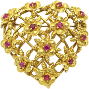 Vintage Tiffany & Co 18k Yellow Gold .78ct Round Ruby Flower Heart Brooch Pin