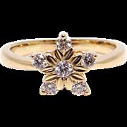 14k Yellow Gold .30ct Round Diamond Cluster Star Snowflake Ring Size 6