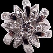 Vintage Estate 14k White Gold .79ct Round Diamond Cluster Star Snowflake Ring Size 6.75