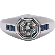 Art Deco Mens 18k White Gold Round European 0.64ct Diamond Sapphire Band Ring size 9.5