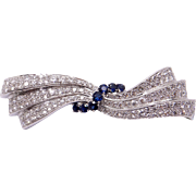 Retro 14k White Gold 5ct Round Blue Sapphire Diamond Brooch Bow Ribbon Pin