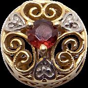 Vintage Estate 10k Yellow Gold .20ct Round Garnet Slide Bracelet Charm Pendant