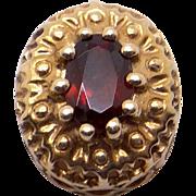Vintage Estate 10k Yellow Gold Oval Garnet Slide Bracelet Charm Pendant