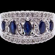 Vintage 10k White Gold 1ct Marquise Sapphire Diamond 12mm Wedding Band Ring