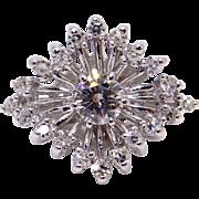 14k White Gold .55ct Round Diamond Cluster Star Snowflake Ring Size 5