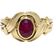 Unique 18k Yellow Gold .70ct Oval Cut Ruby Solitaire Woven Flower Band Ring