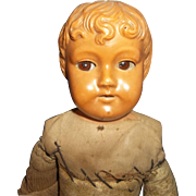 Antique Celluloid Boy with Turtle Mark and Glass Eyes