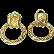 "David Yurman 14 Karat Yellow Gold ""Door Knocker"" Earrings"