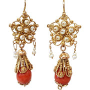 14 Karat Yellow Gold Coral and Cultured Pearl Floral Earrings, Circa 1850