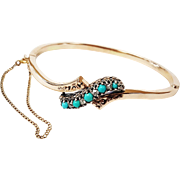 14 Karat Rose Gold and Sterling Silver Victorian Style Bangle set with Natural Turquoise and .
