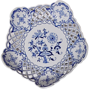 """Reticulated Blue Onion Fruit Bowl With """"Meissen"""" Mark"""