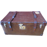 Vintage British Leather Steamer Trunk, Brown Flaxite by Frederick Gorringe - Lord Astor