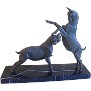 Art Deco Bronzed Rutting Goats Statue on Marble Plinth