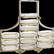 Vintage Intaglios Open Salt Cellar Set of 12 with Metal Stand by Heinrich Hoffman