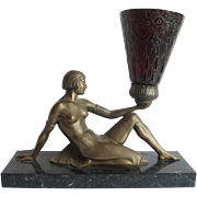 Art Deco Bronzed Spelter Reclining Semi Nude Female Figural Lamp